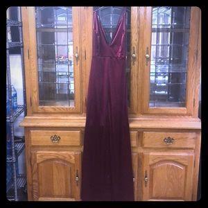 Fashion Nova Burgundy Wine Evening Gown